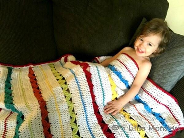 Rickrack Stripe Baby Blanket