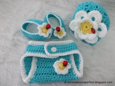 Newborn Diaper Cover and Shell Beanie