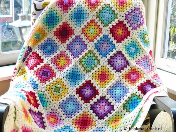 Colourful Rainbow Granny Square Blanket