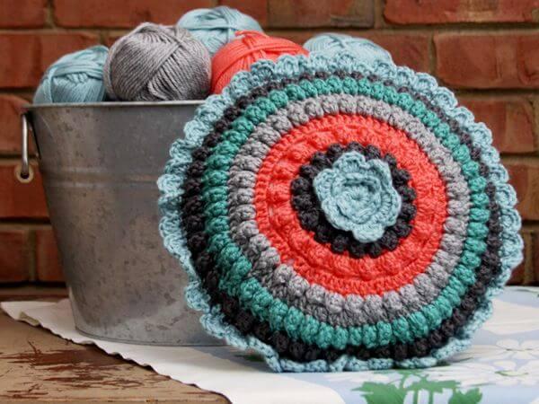 Popcorn Circles Crochet Pillow