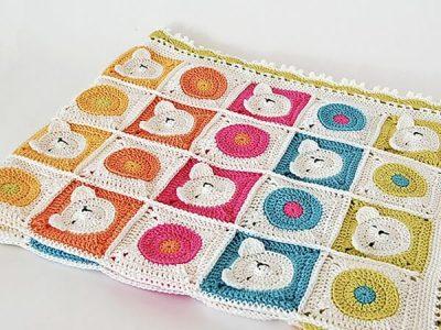 Teddy Bear Crochet Baby Blanket