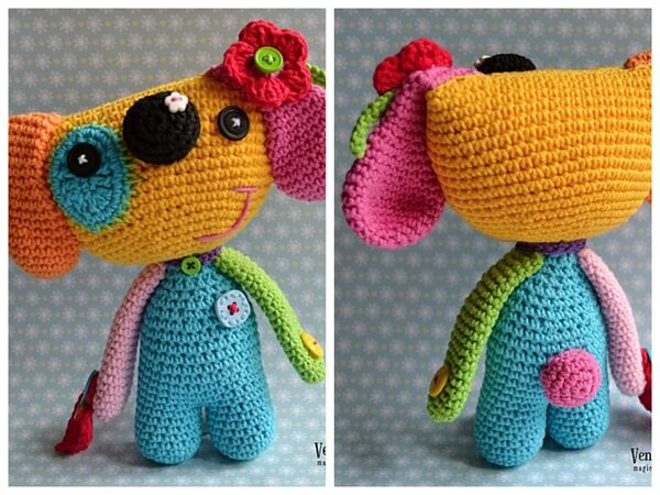 Crochet dog pattern - Rainbow dogie