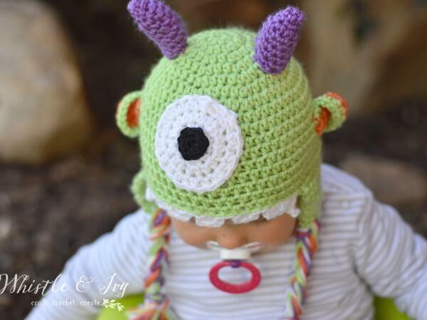 Littlest Monster Crochet Baby Hat