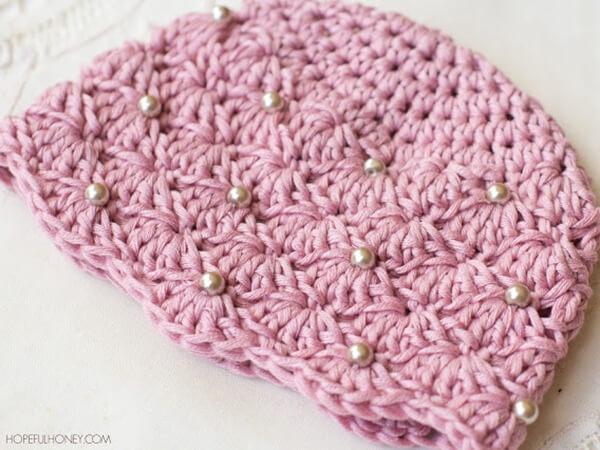 Vintage Pearl Baby Hat Free Crochet Pattern 3