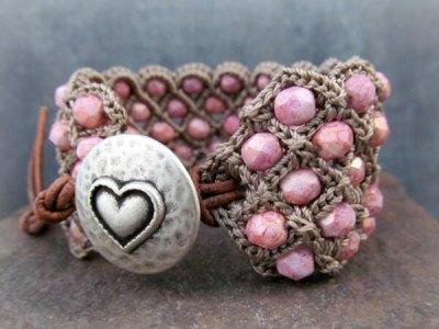 Crochet Beaded Cuff Bracelets