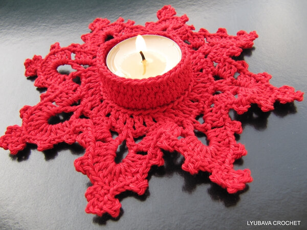Christmas Tea Light Crochet Candle Holder