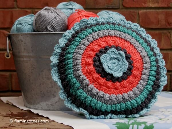 Retro Style Crochet Pillow