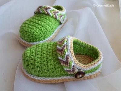 Crochet Tribal Baby Clogs