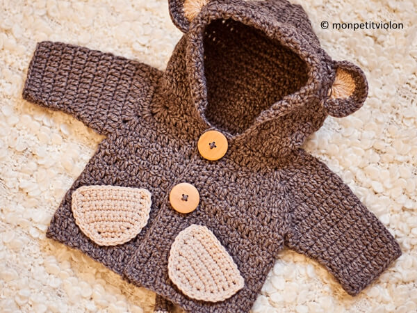 Monkey Hooded Cardigan