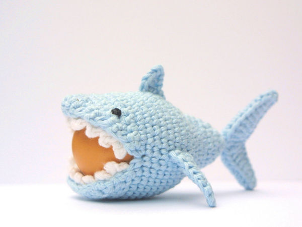 Crochet Shark Egg Cozy