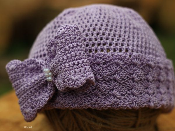 Crochet Hat with Bow and Beads