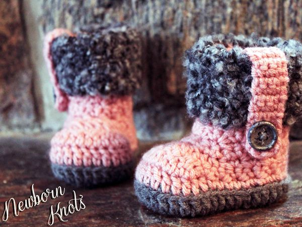 Girls Fur Flap Baby Booties