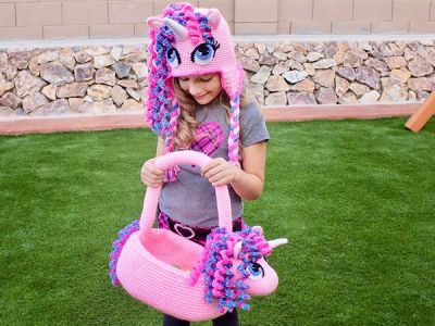 Unicorn Pony Hat & Basket