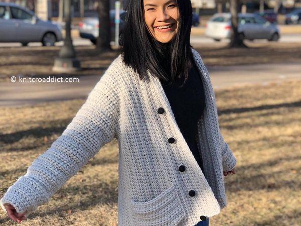 crochet Buttoned Sweater free pattern