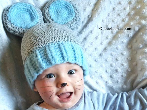 crochet Sweet Baby Field Mouse Hat free pattern