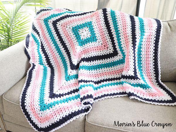 crochet V-Stitch Granny Blanket free pattern