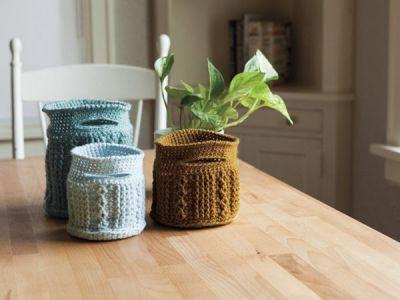 Crochet Cable Baskets Pattern