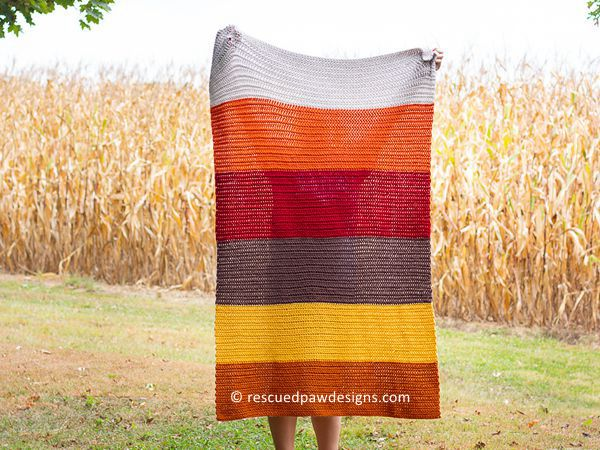 crochet Fall HHDC Blanket free pattern