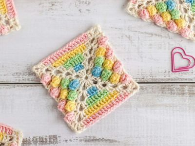 crochet Rainbow Gumdrop Crochet Square free pattern