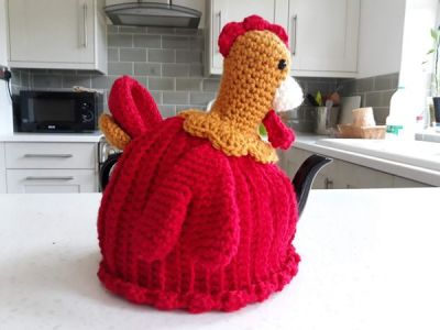 crochet Red Rooster Tea Cosy free pattern