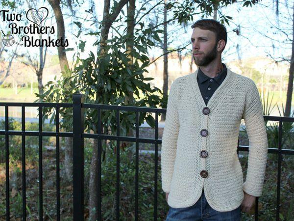 Crochet Mens Cardigan easy pattern