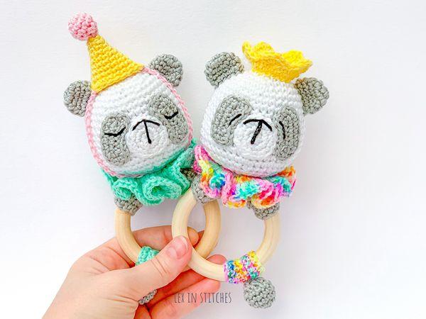 crochet Party Panda Rings free pattern