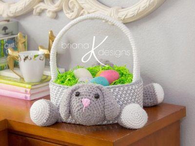 crochet Bunny Easter Basket easy pattern