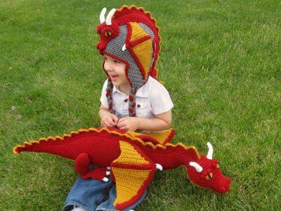 crochet Dragon Hat Stuffed Animal Toy easy pattern