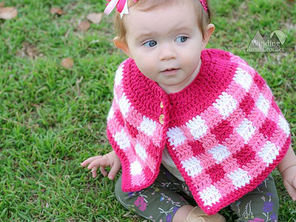 crochet Plaid Cape free pattern