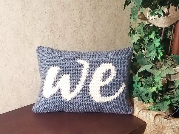 crochet We Pillow free pattern