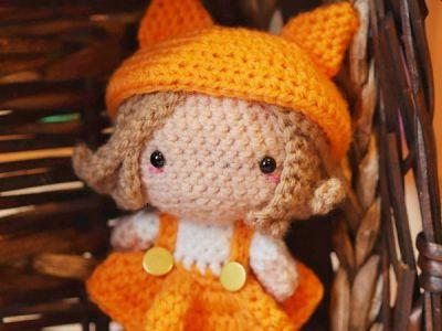 crochet Kitsune the Fox Girl free pattern