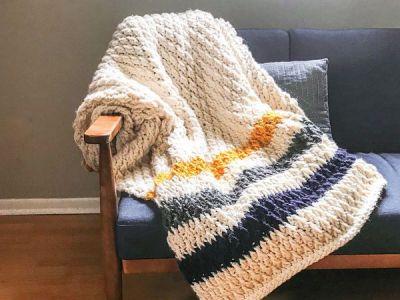 crochet Chunky Striped Alpine Blanket free pattern