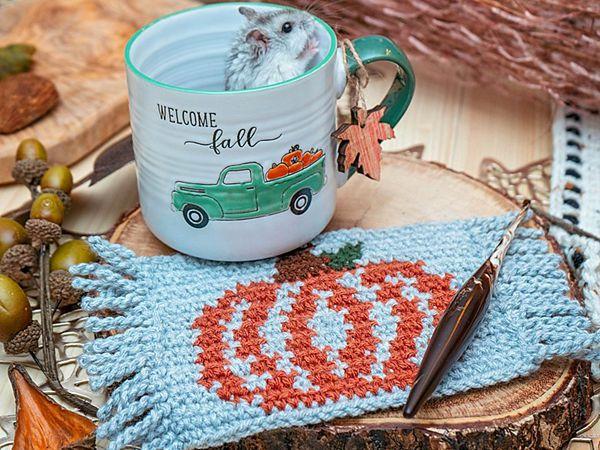 Pumpkin Mug Rug Crochet Coaster free pattern