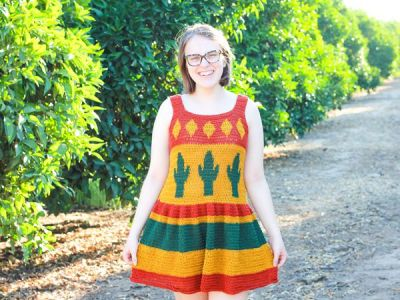crochet Desert Cactus Top and Dress free pattern