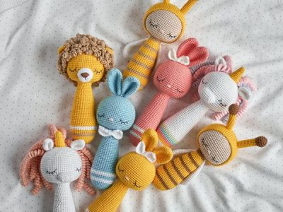 crochet Rattle Amigurumi Toys Set easy pattern