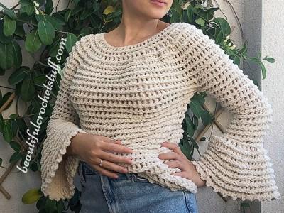 crochet Flare Sleeves Sweater free pattern