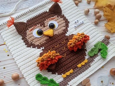 crochet Owl Wall Hanging easy pattern