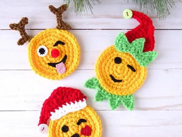 crochet Christmas Emoji Santa Reindeer Elf free pattern