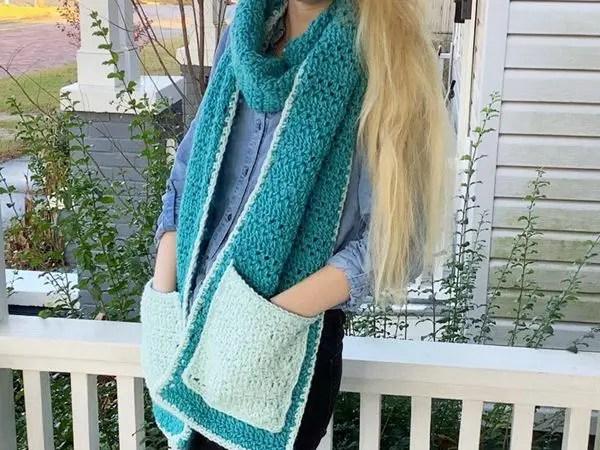 crochet Compound Pocket Scarf free pattern