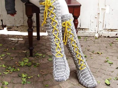 crochet Knee-High Laced Socks easy pattern