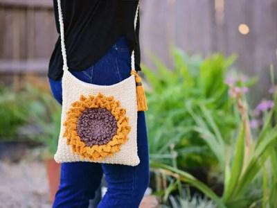 crochet Sunflower Bag easy pattern