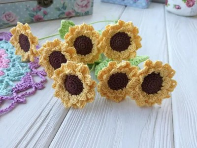 crochet Sunflower Bouquet easy pattern