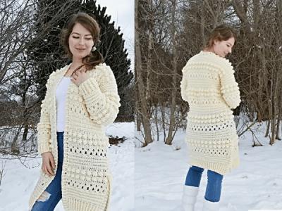 crochet Bobbles of Snow Cardigan free pattern