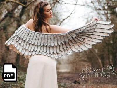 crochet Feather Wing Shawl easy pattern