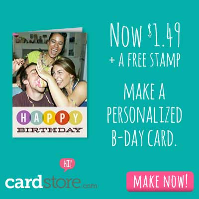 $1.49 Folded Cards + Free Stamp when you let us mail it for you at Cardstore! Use code: CCJ3718 at checkout. Valid through 11:59pm PST 7/29/13. Shop Now!