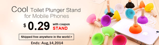 Crazy Discount! Low to $0.29 with Coupon Code: STAND. Lowest Prices to Get Cool Toilet Plunger Stand for Mobile Phones! All Free Shipping Worldwide! (Ends: Aug,14,2014)