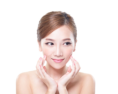 Skin care Woman look to empty copy space
