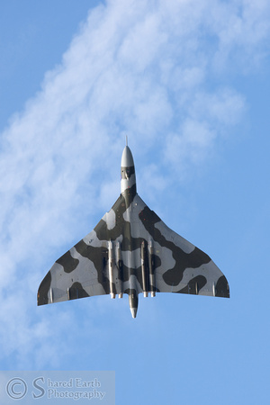 You can clearly see the kink in the leading edge of the wing as XH558 flies over Rhyl.
