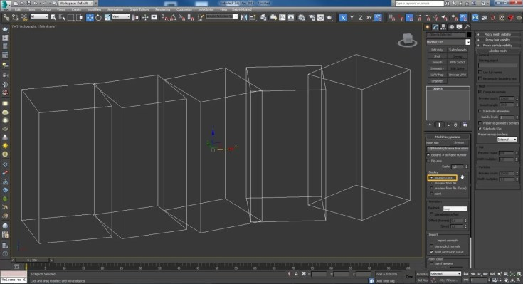Set the V-ray Proxy objects to Display - Bounding Box