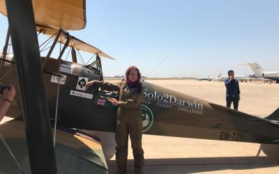 قائدة الطائرة البريطانية أماندا هاريسون في لبنان